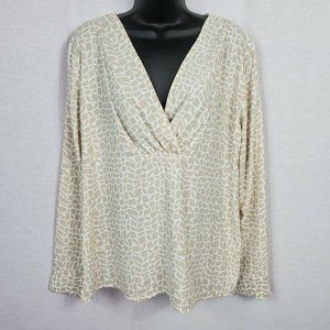 Ann Taylor Women's Baby Doll V-Neck Blouse Large